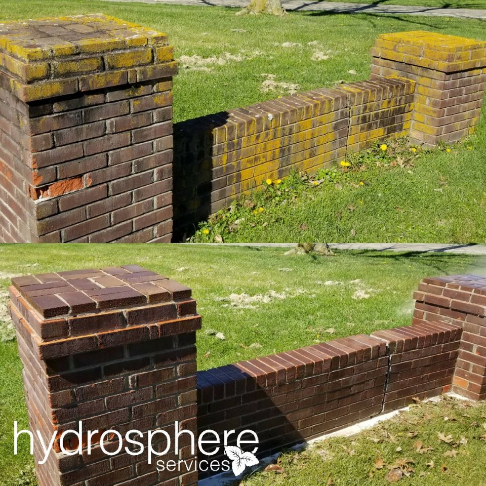 before & after photo of a cleaned brick wall