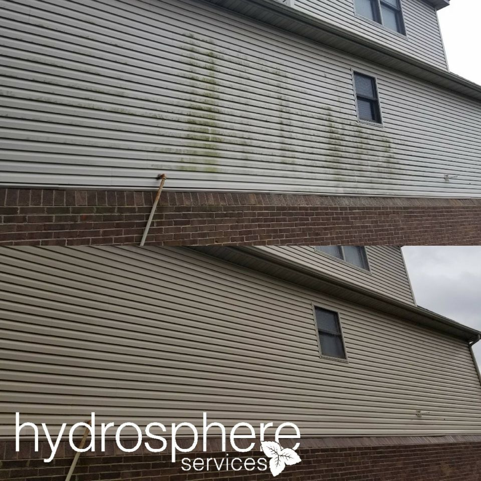 cleaned siding before & after