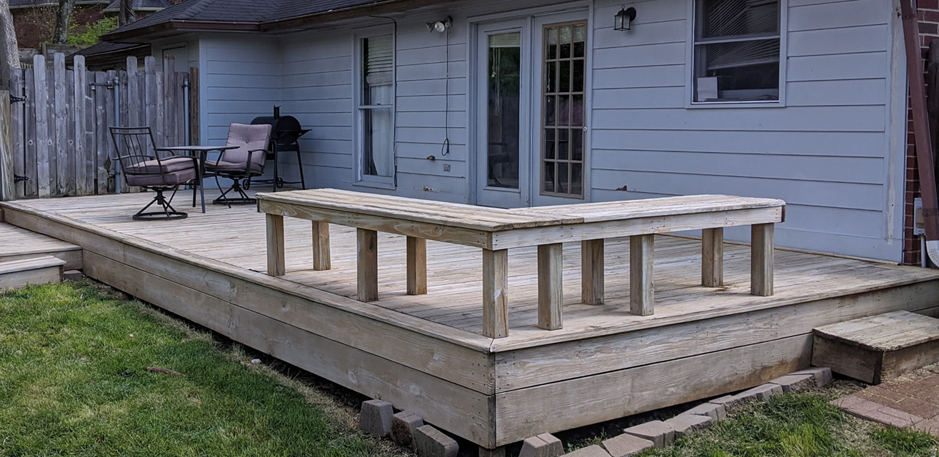 wood bench connected to deck